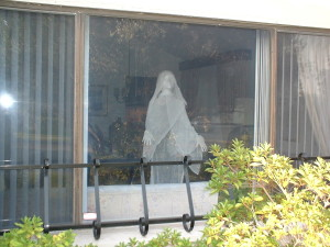 Cheese cloth ghost in window