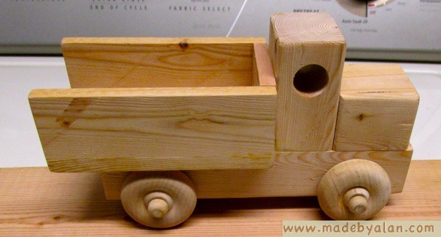 simple wood toy truck made by alan wooden toy trucks